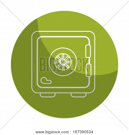 sticker strongbox close to security of special thing, vector illustration