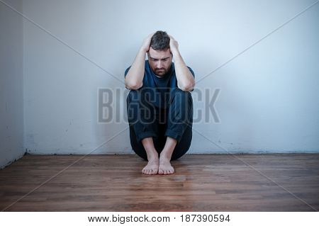 Desperate man in trouble feeling depressed and alone