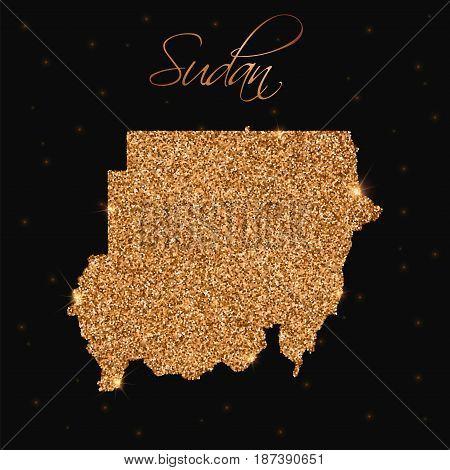 Sudan Map Filled With Golden Glitter. Luxurious Design Element, Vector Illustration.