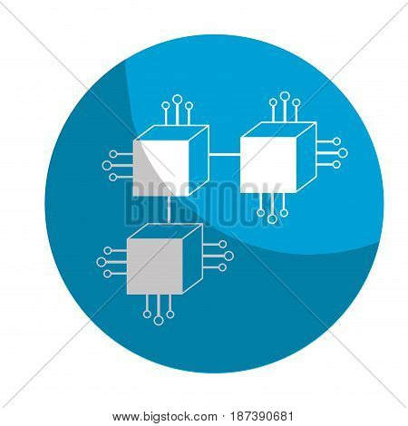 sticker squares digital connections with circuits electronic and magnifying glass, vector illustration