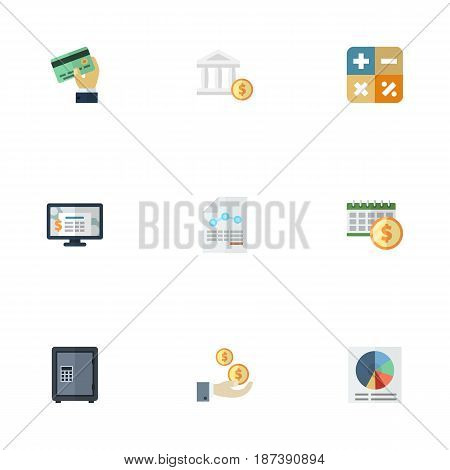 Flat Bank, Card, Algebra And Other Vector Elements. Set Of Recording Flat Symbols Also Includes Credit, Net, Algebra Objects.