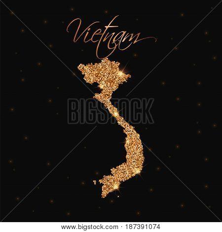 Vietnam Map Filled With Golden Glitter. Luxurious Design Element, Vector Illustration.