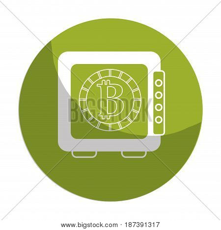 sticker strongbox open with bitcoin currency inside, vector illustration