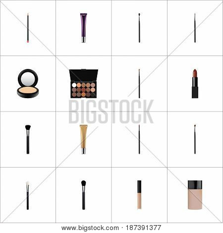Realistic Beauty Accessory, Collagen Tube, Cover And Other Vector Elements. Set Of Maquillage Realistic Symbols Also Includes Pomade, Palette, Tassel Objects.