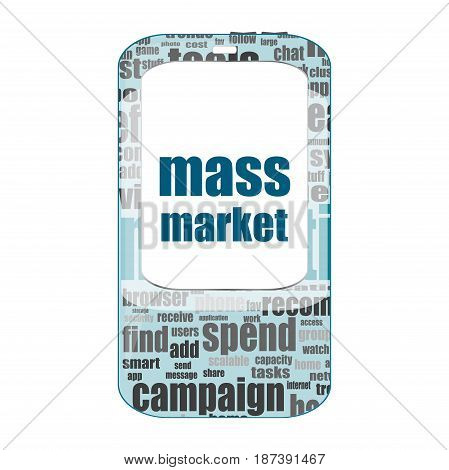 Mass Market Text. Business Concept . Detailed Modern Smartphone Isolated On White