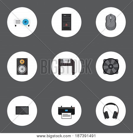 Flat Earphones, Diskette, Amplifier And Other Vector Elements. Set Of Laptop Flat Symbols Also Includes Amplifier, Slideshow, Cooler Objects.