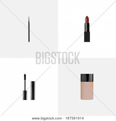 Realistic Cosmetic Stick, Eyelashes Ink, Concealer And Other Vector Elements. Set Of Maquillage Realistic Symbols Also Includes Eyelashes, Cosmetic, Lipstick Objects.