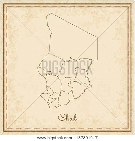 Chad Region Map: Stilyzed Old Pirate Parchment Imitation. Detailed Map Of Chad Regions. Vector Illus