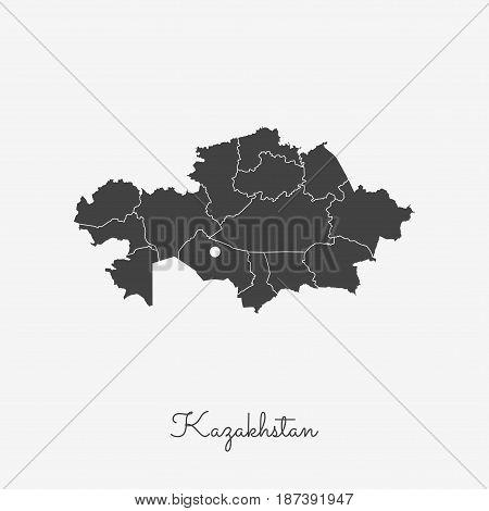 Kazakhstan Region Map: Grey Outline On White Background. Detailed Map Of Kazakhstan Regions. Vector