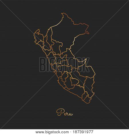 Peru Region Map: Golden Gradient Outline On Dark Background. Detailed Map Of Peru Regions. Vector Il