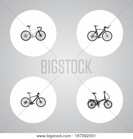 Realistic Road Velocity, Folding Sport-Cycle, Competition Bicycle And Other Vector Elements. Set Of Sport Realistic Symbols Also Includes Triathlon, Bike, Training Objects.