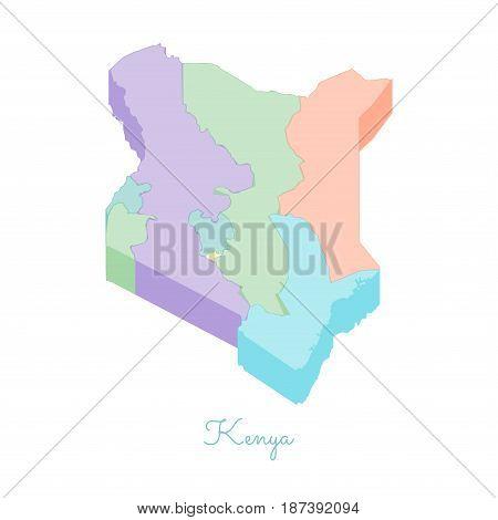 Kenya Region Map: Colorful Isometric Top View. Detailed Map Of Kenya Regions. Vector Illustration.