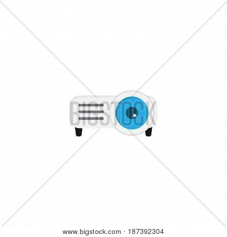 Flat Projector Element. Vector Illustration Of Flat Presentation Isolated On Clean Background. Can Be Used As Projector, Presentation And Slideshow Symbols.
