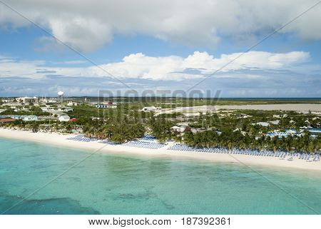 The morning view of still empty beach on Grand Turk island (Turks and Caicos Islands).