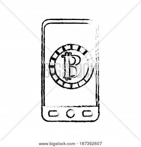 figure smartphone with bitcoin currency symbol inside, vector illustration