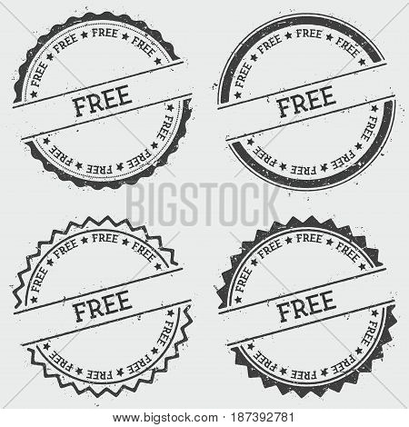 Free Insignia Stamp Isolated On White Background. Grunge Round Hipster Seal With Text, Ink Texture A