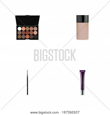 Realistic Multicolored Palette, Concealer, Day Creme And Other Vector Elements. Set Of Maquillage Realistic Symbols Also Includes Collagen, Palette, Brush Objects.