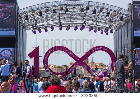 Alghero Italy - May 05 2017: people by Giro d'Italia stage in Alghero seafront