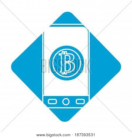 label smartphone with bitcoin currency symbol inside, vector illustration