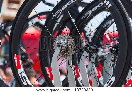 Alghero Italy - May 05 2017: close up of CIipollini NK1K bike pinion