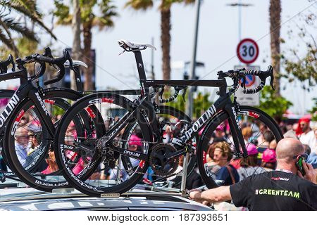 Alghero Italy - May 05 2017: Cipollini NK1K bikes on 100th Giro d'Italia opening day