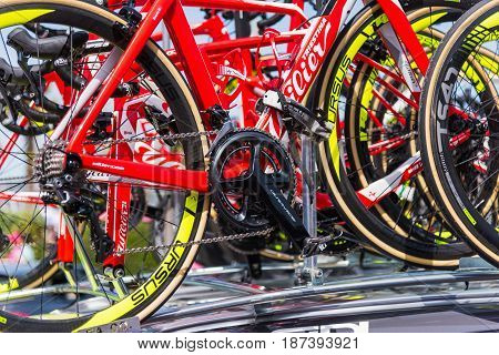 Alghero Italy - May 05 2017: Wilier Triestina team bikes on 100th Giro d'Italia opening day
