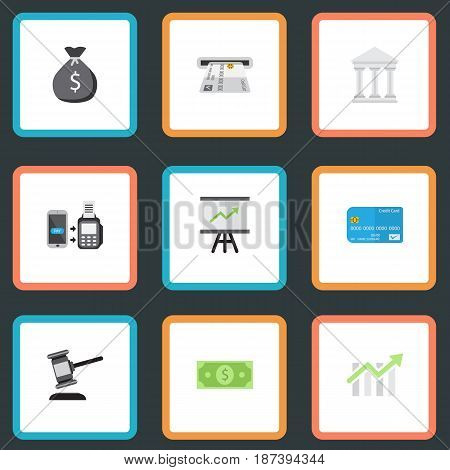 Flat Payment, Bank, Verdict And Other Vector Elements. Set Of Finance Flat Symbols Also Includes Courthouse, Arrow, Atm Objects.