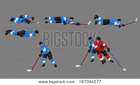 illustration of colored hockey player set in different poses isolated on grey background