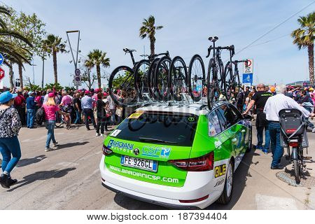Alghero Italy - May 05 2017: Bardiani - CSF team car on Giro d'Italia opening day