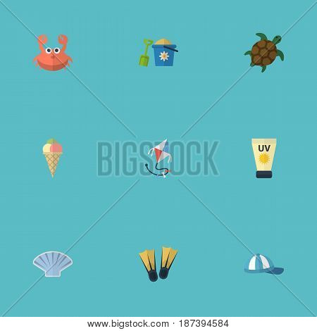 Flat Shovel, Anti-Sun Cream, Conch And Other Vector Elements. Set Of Beach Flat Symbols Also Includes Sea, Kite, Toy Objects.