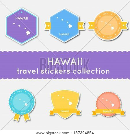 Hawaii Travel Stickers Collection. Big Set Of Stickers With Us State Map And Name. Flat Material Sty