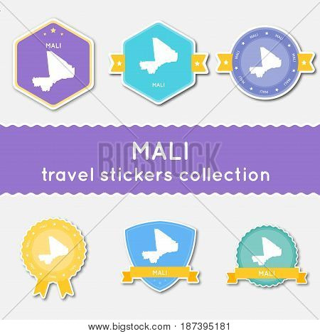 Mali Travel Stickers Collection. Big Set Of Stickers With Country Map And Name. Flat Material Style