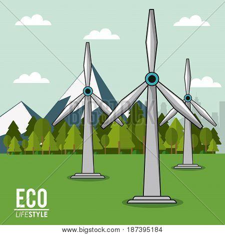 eco lifestyle turbine wind energy renewable landscape image vector illustration