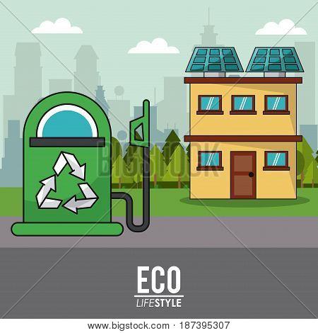eco lifestyle gas pump and house solar panel environmental vector illustration