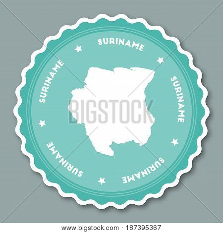 Suriname Sticker Flat Design. Round Flat Style Badges Of Trendy Colors With Country Map And Name. Co