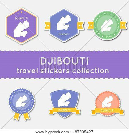 Djibouti Travel Stickers Collection. Big Set Of Stickers With Country Map And Name. Flat Material St