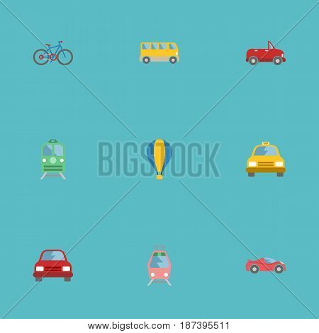 Flat Bicycle, Transport, Omnibus And Other Vector Elements. Set Of Auto Flat Symbols Also Includes Passenger, Automobile, Tramcar Objects.
