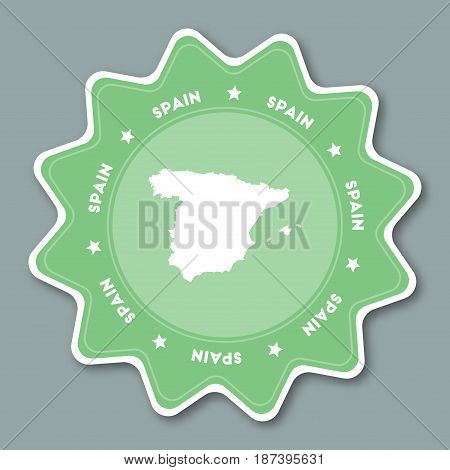 Kingdom Of Spain Map Sticker In Trendy Colors. Star Shaped Travel Sticker With Country Name And Map.