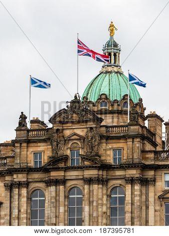 Close-up On Bank Of Scotland Headquarters Facade In Edinburgh