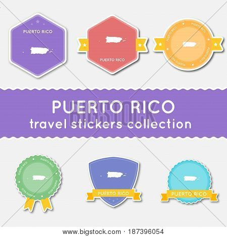 Puerto Rico Travel Stickers Collection. Big Set Of Stickers With Us State Map And Name. Flat Materia