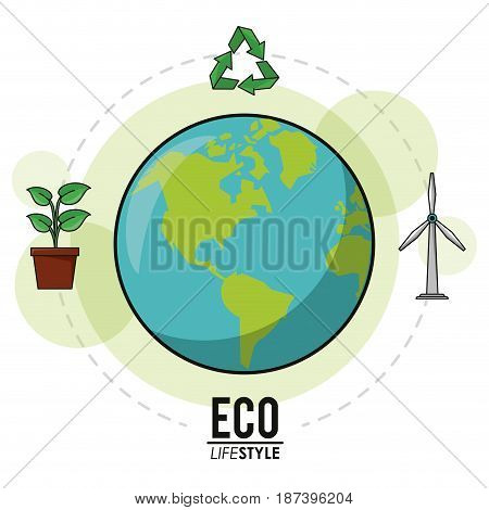 eco lifestyle earth world recycle energy nature image vector illustration