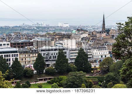 EDINBURGH SCOTLAND - SEPTEMBER 14 2014: view of the northern part of the city showing Leith and Newhaven districts with the Firth of Forth in the background.