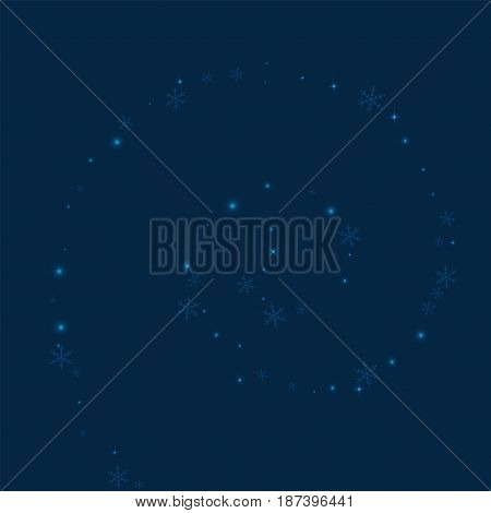 Sparse Glowing Snow. Spiral With Sparse Glowing Snow On Deep Blue Background. Vector Illustration.