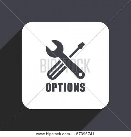 Options flat design web icon isolated on gray background