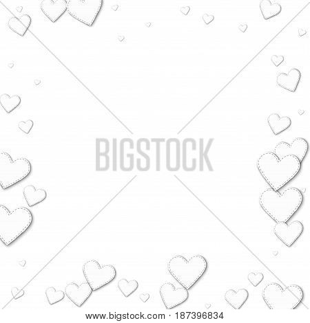Cutout White Paper Hearts. Chaotic Border With Cutout White Paper Hearts On White Background. Vector