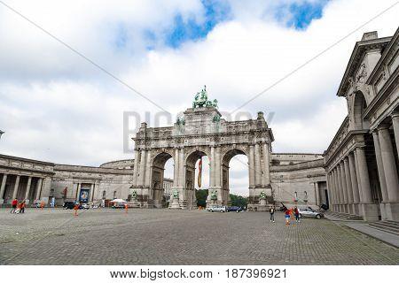 Triumphal Arch In Parc Du Cinquantenaire In Brussels
