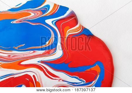 Liquid marbling paint background. Fluid painting abstract texture on white. Colorful mix of acrylic vibrant colors.