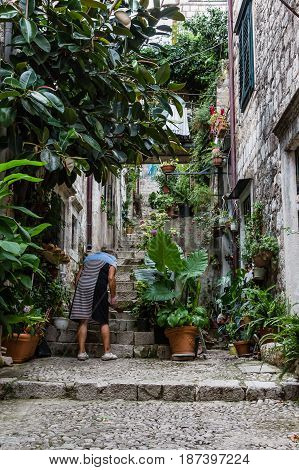 DUBROVNIK CROATIA - JULY 16 2016: relaxed woman caring her potted plants in a tranquil street of the city's Old Town quarter in contrast to the usual tourist throngs roaming the Stradun.