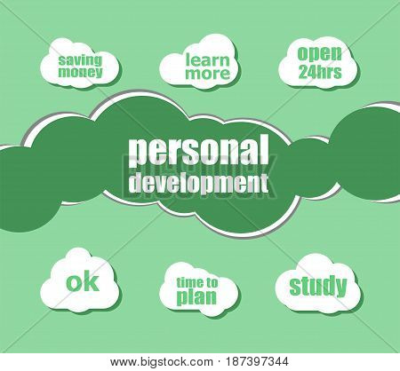 Text Personal Development. Business Concept . Word Lettering Typography With Line Icons And Tag Clou