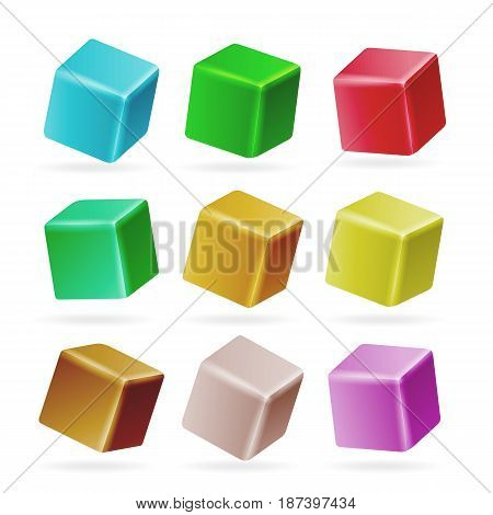 Colorful Cube 3d Set Vector. Perspective Empty Models Of A Cube Isolated On White